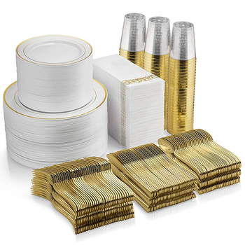Gold Trim and White Elegant Plastic Plates for Parties and Wedding