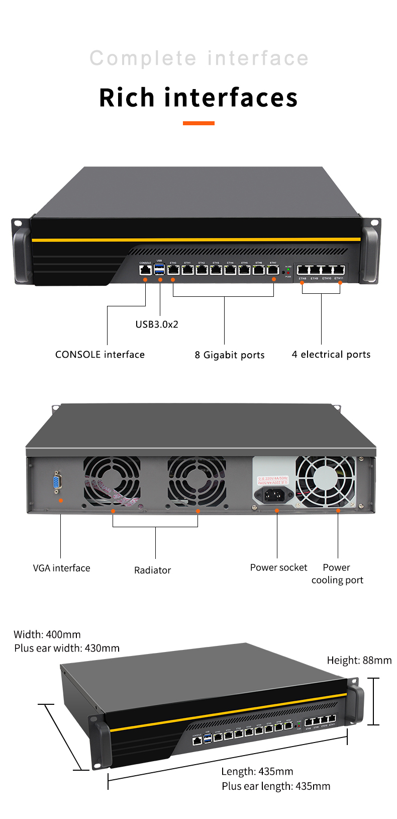 B150 soft routing industrial computer 8 network port i211 4 electrical port i350 gigabit network card 2U chassis