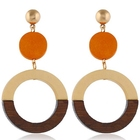 New amazon sells wood geometric rectangle earrings simple style spliced round hoop earrings
