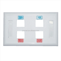 RJ45 US Type Face Plate in White, 4-Port Wall Plate