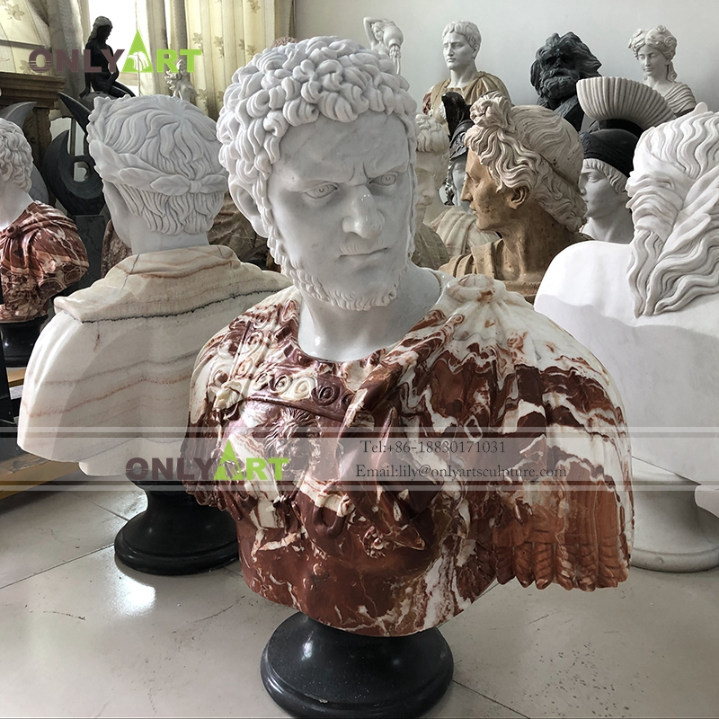 Art decoration hand carved stone roman bust sculpture life size roman head statue