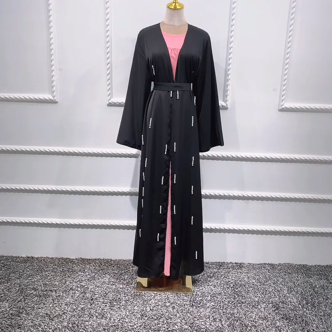 Wholesale high quality abaya maxi dress women muslim open cardigan islamic kimono beaded abaya