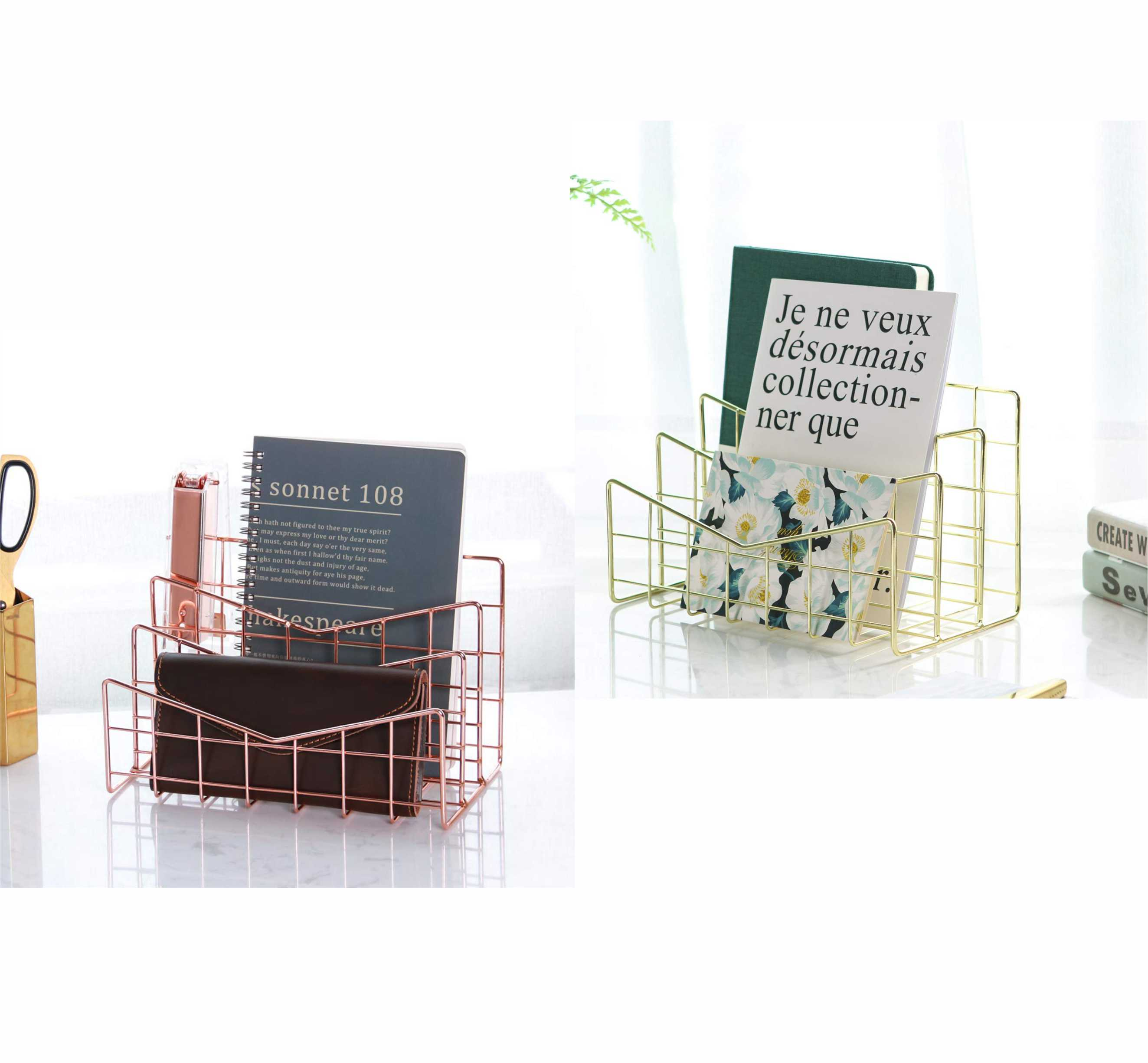 Desk Wire Letter Mail Sorter, Decorative File Storage Organizer for Postcard, Mail, Brochure and Notebook, Rose Gold
