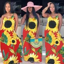 Модное длинное шифоновое платье на тонких бретелях с цветочным принтом в стиле бохо размера плюс 5xl, летние пляжные повседневные платья для ...(Китай)
