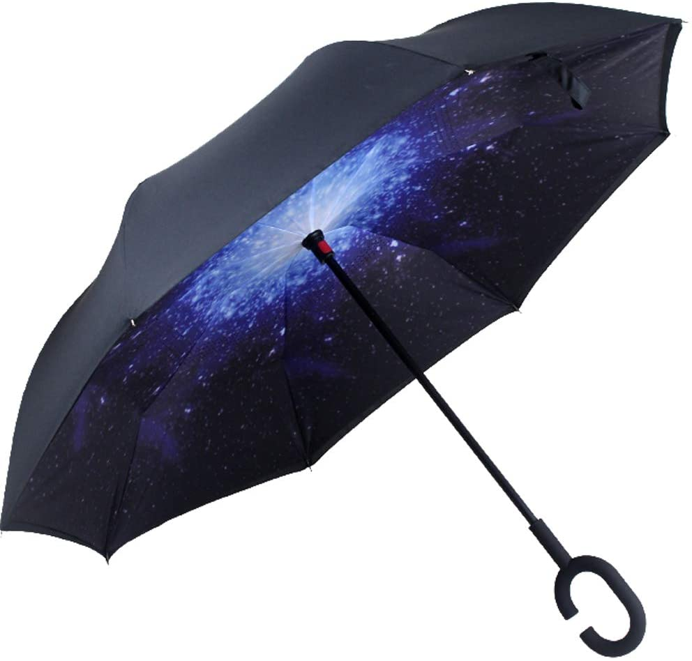 Double Layer Inverted Umbrella Reverse Umbrella Windproof for Car Rain Outdoor with C-Shaped Handle