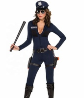 Halloween fashion party sexy tight police officer cop costume for women