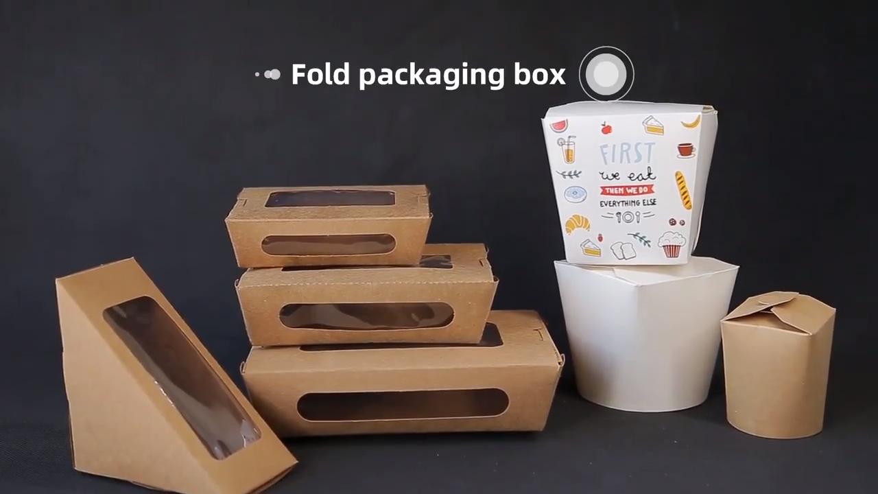 Kraft personalizado almuerzo caja de papel desechable Rectangular contenedor con esquinas redondeadas para llevar el paquete