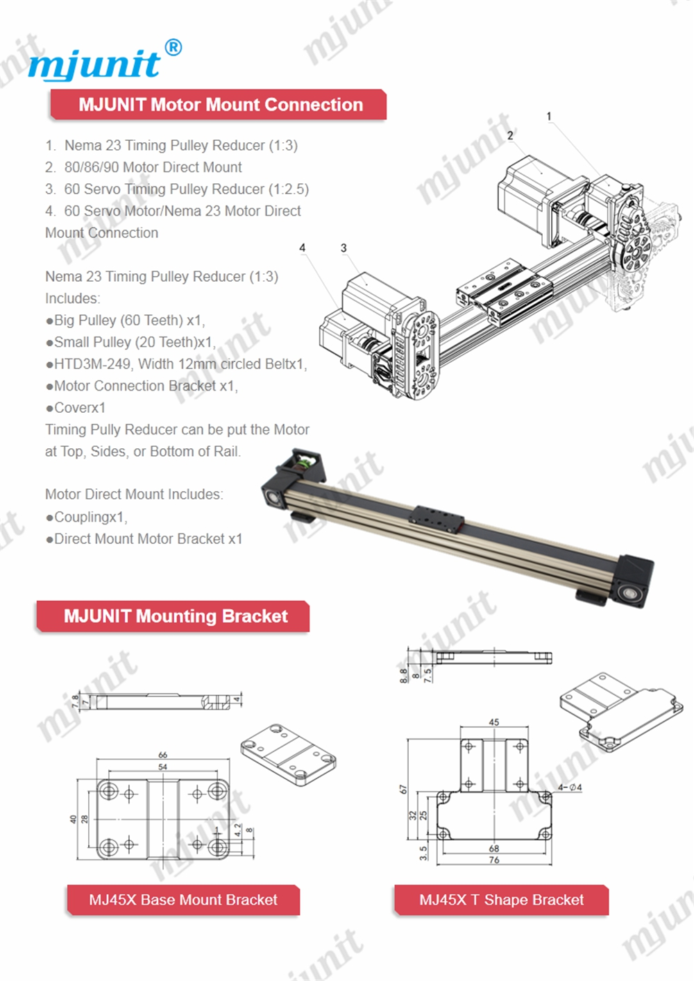 Mjunit 45X CNC slide table with high precision positioning running smooth aluminum profile electronically 800mm stroke