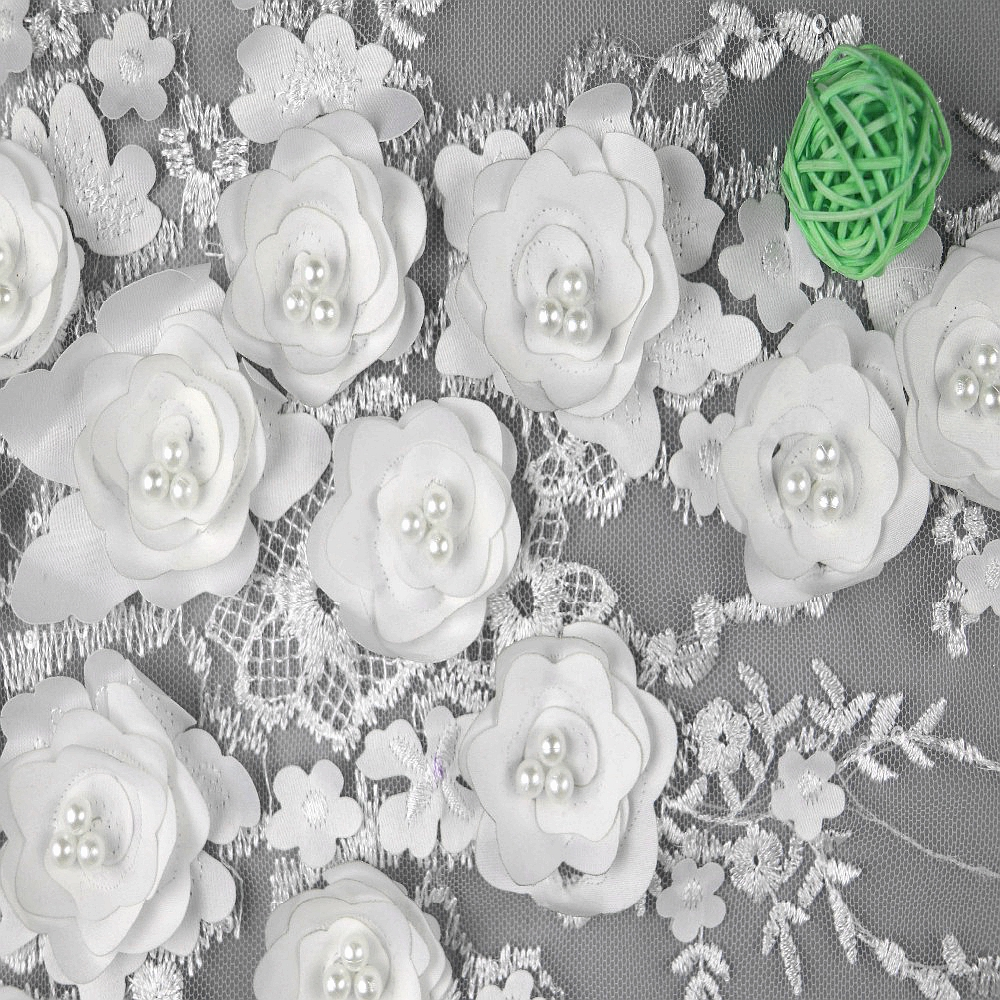 Wholesales 3d flower french lace fabric bridal lace fabric wedding gown fabrics фото