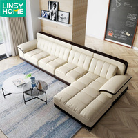 European Italian Luxury Modern Style Large Top Grain Real Recliner Corner Sectional Pure Leather Sofa Set