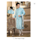 Dubai Men's Wear Embroidered Sky Blue Wedding traditional Indian clothing Pakistani Dress kurta in India