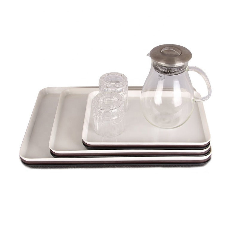 โรงงานขายส่งช้อปปิ้งออนไลน์ราคาถูกเมลามีนอาหารโรงแรมให้บริการ CUSTOM ถาด Rolling CUSTOM พิมพ์ถาดชา