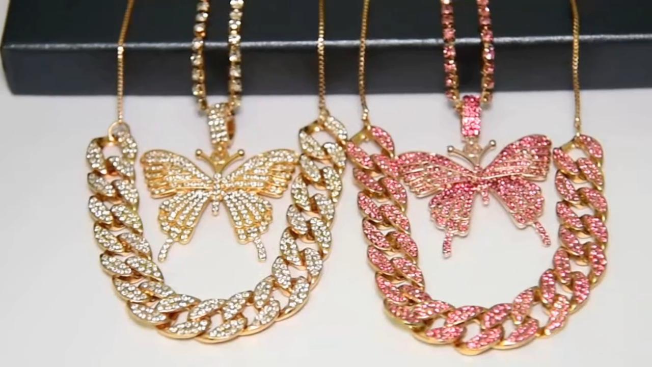 2020 bien joyería de oro rosa Micro Pave CZ Rosa Cubic Zircon diamante cubano Cadena de enlace directo collar de mariposa