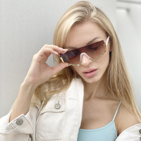 wholesale 2020 new arrivals custom fashion trendy one piece half metal frame oversized women men shades sun glasses sunglasses