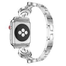 Роскошный Алмазный металлический ремешок для Apple watch 40 мм 38 мм серии 5/4/3/2/1 браслет из нержавеющей стали для iwatch 42 мм 44 мм(Китай)