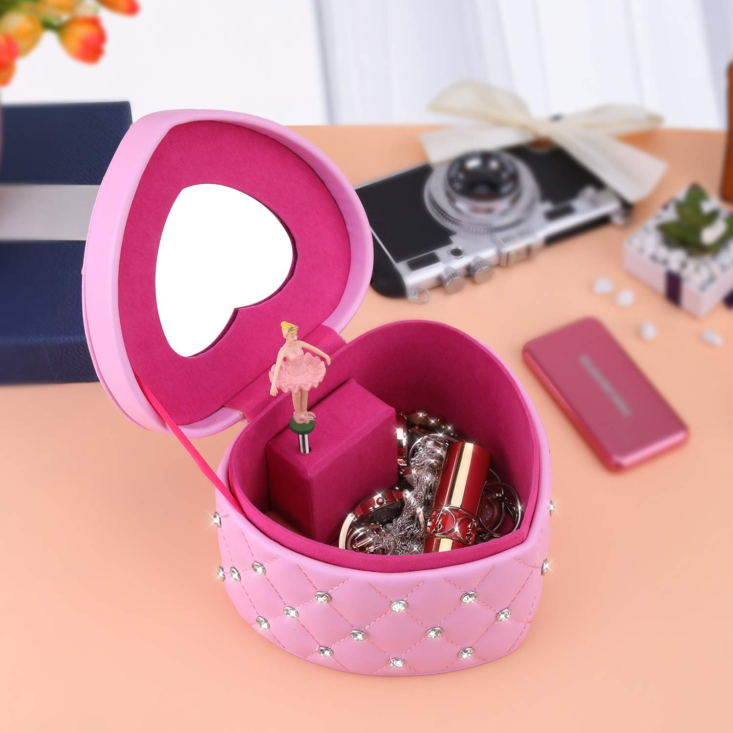 buy pink best child's wholesale custom handmade heart ballerina musical jewelry box personalized