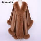 High Quality 100% Real Cashmere & Fox Fur Poncho Fashion Design Autumn Winter Warm Fur Capes S7512