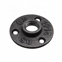 "Malleable Cast Iron Black Floor Flange 3 hole Flange DN15 1/2"" with BSP Thread"