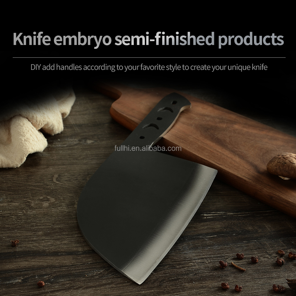 DIV Stainless Steel Blade Black Chopper 6.65 inch Butcher Knife Accessories Serbian Outside Knife Blade Blank without Handles