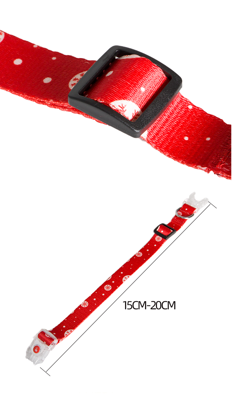 Manufacturer Custom Logo Personalized Pattern Sublimation Printed Christmas Adjustable Dog collar with LED light Buckle