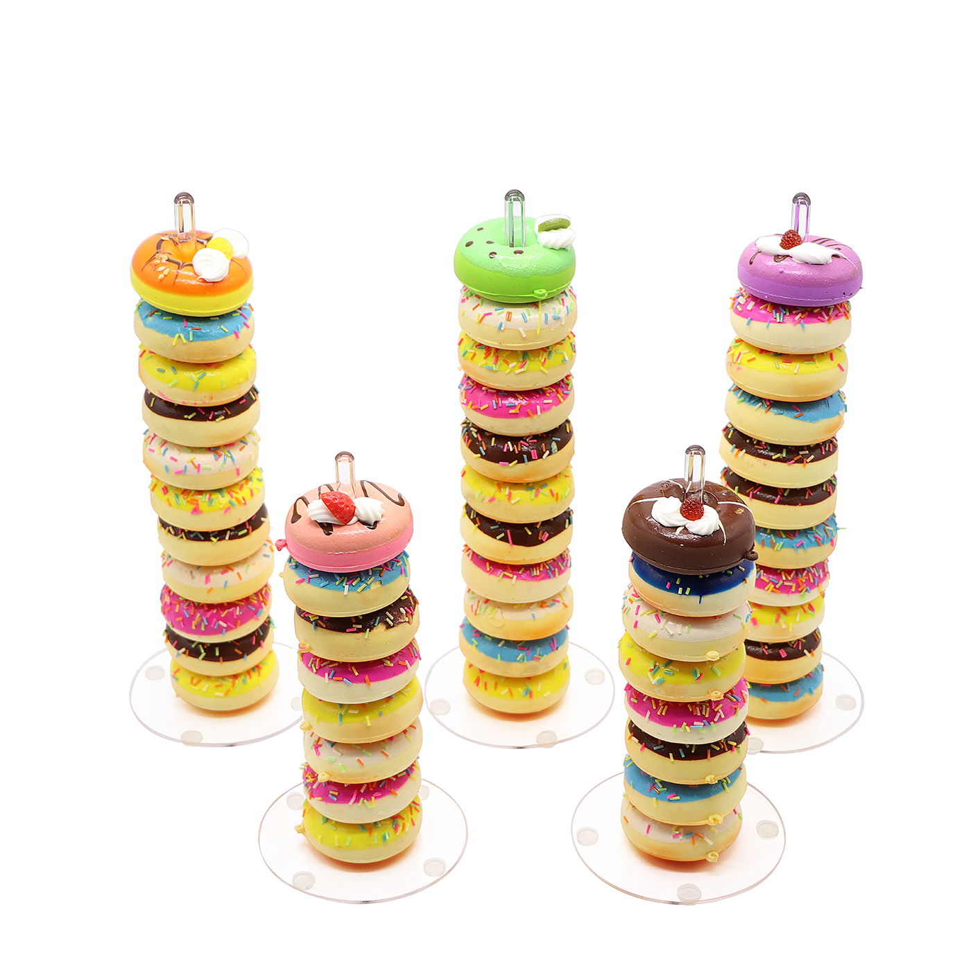 Acrylic Donut Stands Display Clear Bagels Doughnut Holder for Wedding Birthday Party Treat 5 pieces