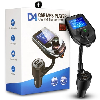 Universal D4 Car Wireless Bluetooth FM Transmitter Handsfree MP3 Player with Dual USB Charger for Phone