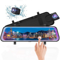 "9.66"" IPS Touch Screen 1080P Dual Camera Front and Rear View Mirror Car camera recorder"