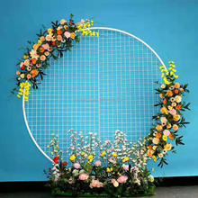 High quality wedding decoration metal circle grid stand gold round mesh backdrop