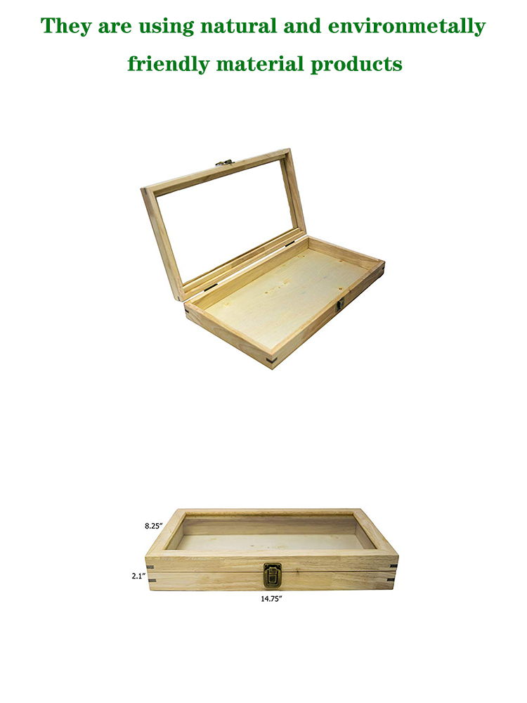 Glass Top Natural Wood Metal Clasp Jewelry Display Case Wood Storage Box Wooden Showcase Organizer