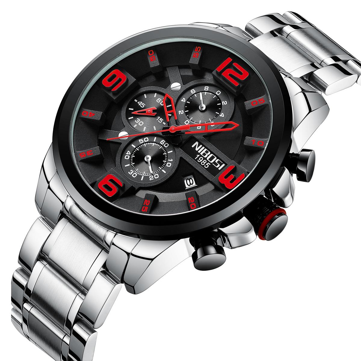 Free Shipping NIBOSI 2336 Mens Watches  Quartz Watch Big Dial Fashion Watch Sport Waterproof Relogio Masculino Saat