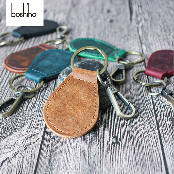 Boshiho יד אולטימטיבי עור Keychain מלא תבואה עור יוקרה שרות מפתח שרשרת עם חגורת מהיר לנתק מפתח טבעת ארגונית
