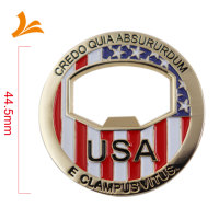 High Quality Metal Brass Soft Enamel Custom Gold challenge coins with Bottle Opener