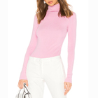 Young Girls Simple Knitwear Thin Slim Fit Silk Jumper Autumn Wear Long Sleeve Knit Lady Pink Turtle Neck Women Pullover Sweaters
