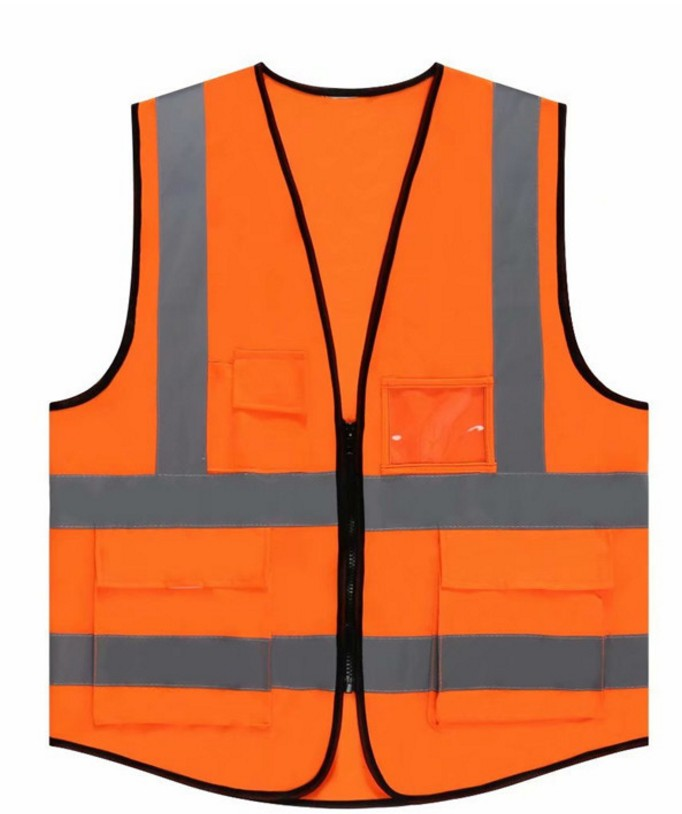 high visibility SIZE L POCKETS ZIPPER <strong>ORANGE</strong> reflective safety <strong>vest</strong>