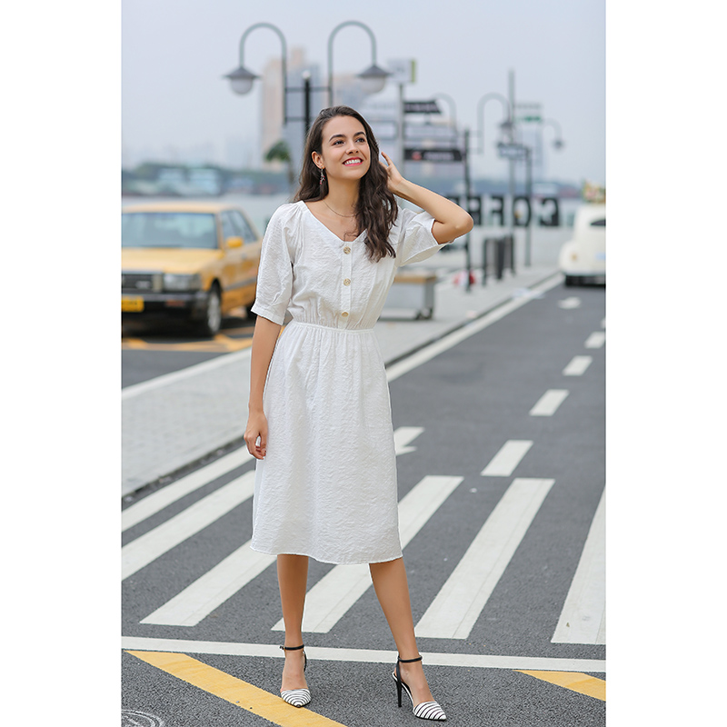 2020 New Design Factory Direct Custom Made Sample Available Polyester Short Sleeve Maxi White Dress