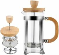 French Press Coffee with Bamboo Lid and Handle Thick Borosilic Glass Easy to Clean