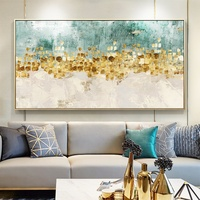Large Size Horizontal Background Wall Decorative Painting Modern Abstract Gold Foil Painting