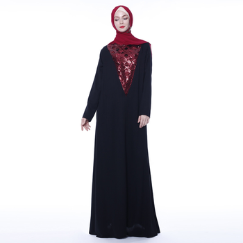 Autumn Cross-border Network Red Explosion Models Black Sequin Embroidery Fashion Muslim Women's dress Abaya Skirt