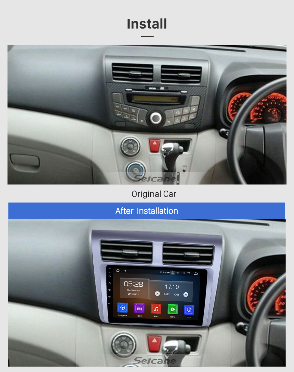9 pouces Android 9.0 Radio pour 2012-2014 Proton Myvi Bluetooth WIFI USB Écran Tactile HD GPS Navigation Carplay