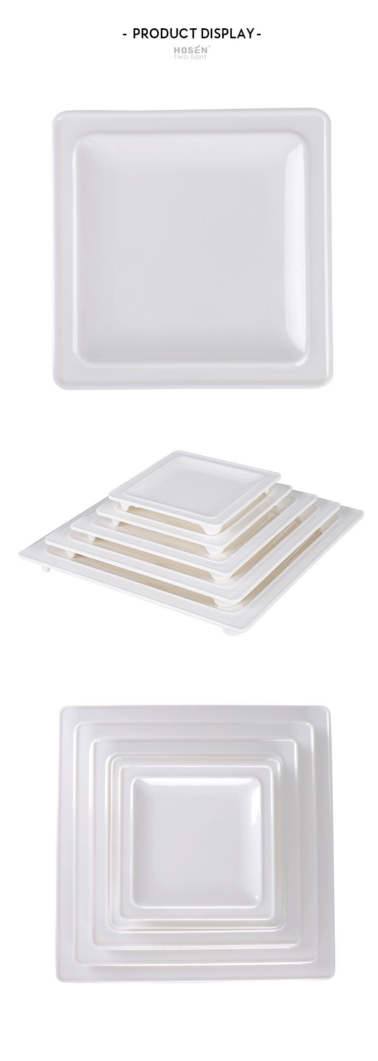 7'' 8'' 10'' 12'' 14'' Melamine Plastic Square Food Serving Plate, Big Size White Square Platter