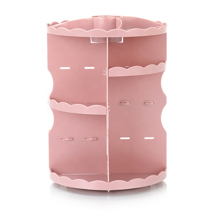 AFTCE094 360 Rotating Clear Capacity Makeup Organizer Cosmetic Pink