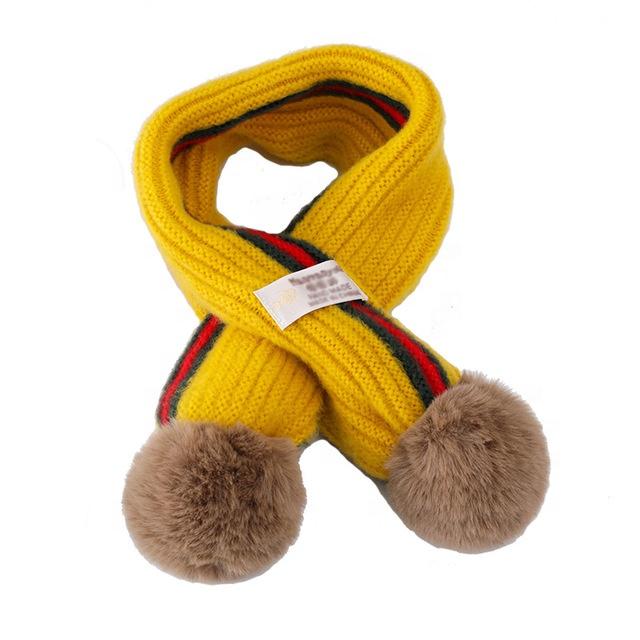 Wholesale Knit Scarf Kids Baby Winter Acrylic Warm Soft Scarf With Pompom