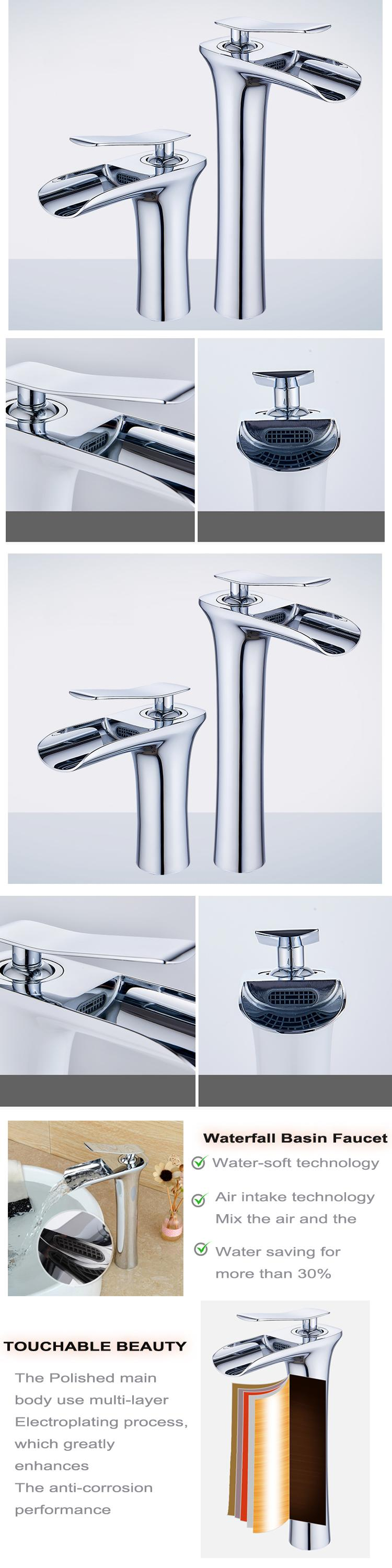 China Manufacturer Chrome Single Lever 59 Brass Waterfall Basin Faucet