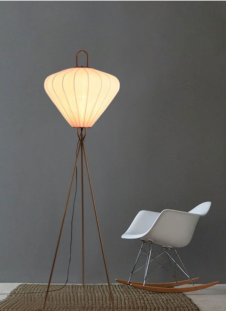 Nordic style fabric lampshade metal tripod designer living room bedroom floor lamp