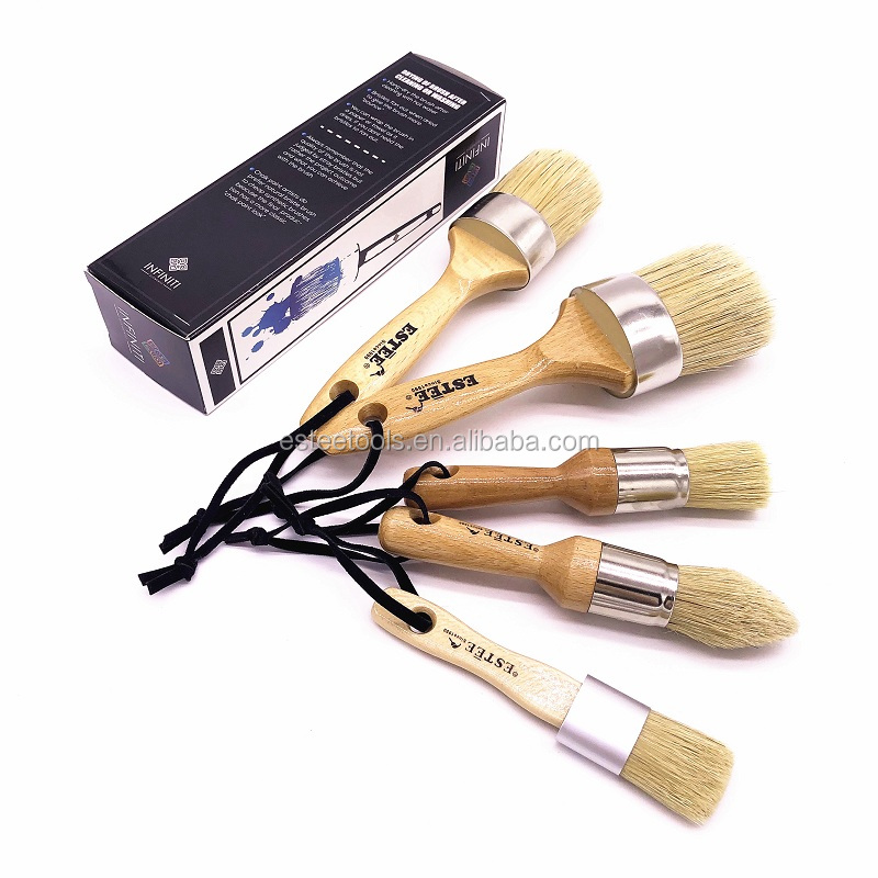 Hot Online Sale boar hair bristle Chalk Paint Brush Wax Brush