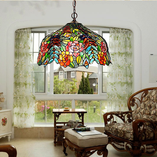 2020 Factory Price Premium Quality Tifany Lamps Stained Glass Handmade Chandelier Lamp For Room Decoration