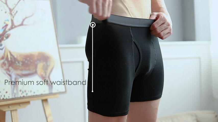Natürlichen Gefühle Boxer Briefs Herren Unterwäsche Männer Pack Weiche Baumwolle Offene Fliegen Lange Bein Unterwäsche