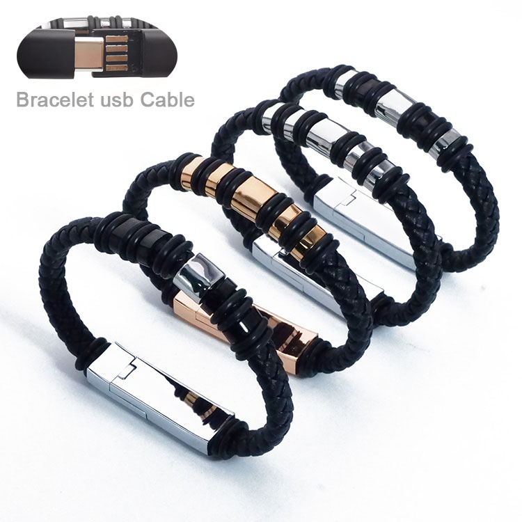 Leather Bracelet 20cm Short USB Charging Data <strong>Cable</strong> For Iphone Type C Micro Charger