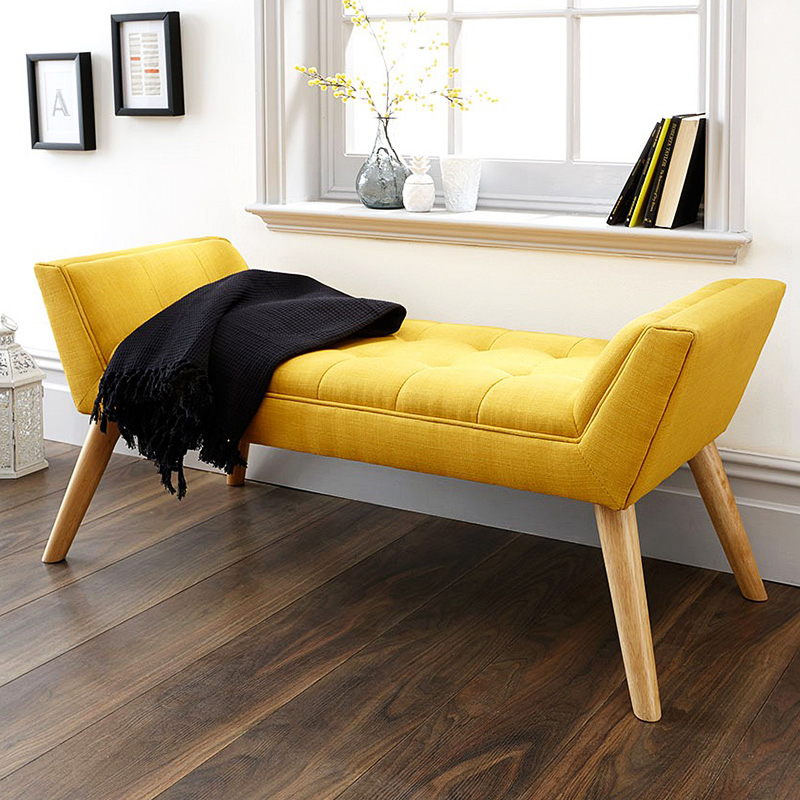 Linen stools ottomans bench with strong structure soft stool bedroom fabric ottoman bench