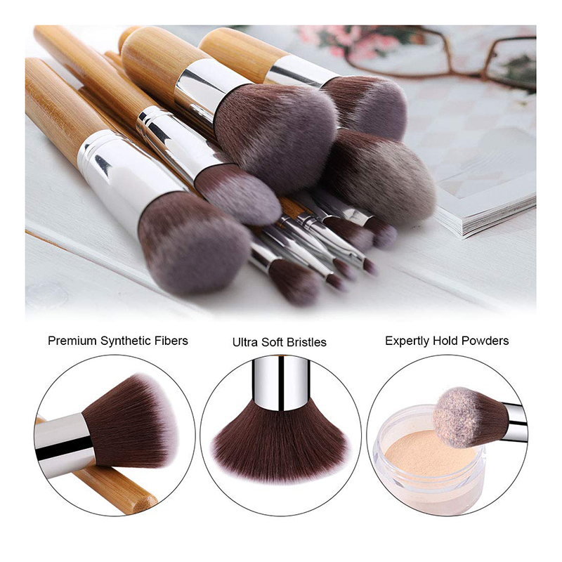 Factory free sample bamboo handle 10pcs make-up cosmetics